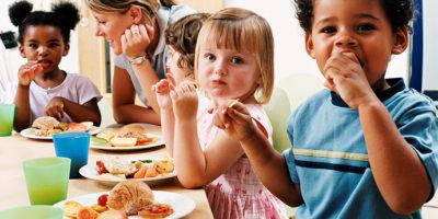 Preschool Children Eating Lunch